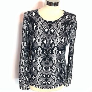 J. McLaughlin button sleeve snakeskin sweater